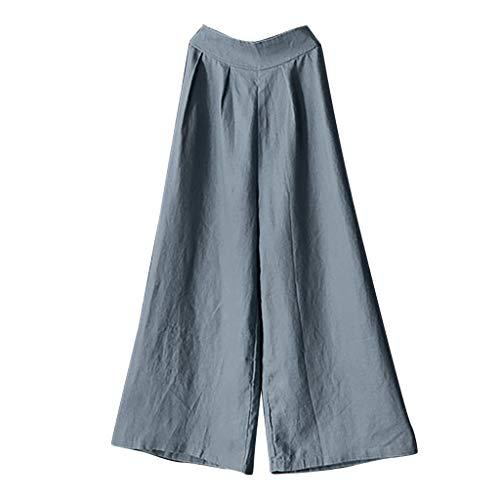 YKARITIANNA Ladies'high-Waist Cotton Flax Slack-Size Comfy Casual Wide-Legged Pants Leggings Gray
