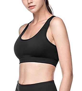 LAPASA Women's Sports Bra - Medium Impact - Double-Layer Wire Free Cups Pullover Racerback for Yoga, Walking, Riding L28 (L, Black)