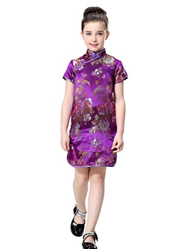 se Dress in Violet with Colorful Peony Patterns (3T) (Peony Pattern)