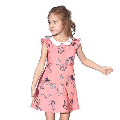 ABC KIDS Toddler Baby Girls Summer Sleeveless Printing Beach Cocktail Classy Vintage Floral Swing Kids Party Dresses 1-6years -