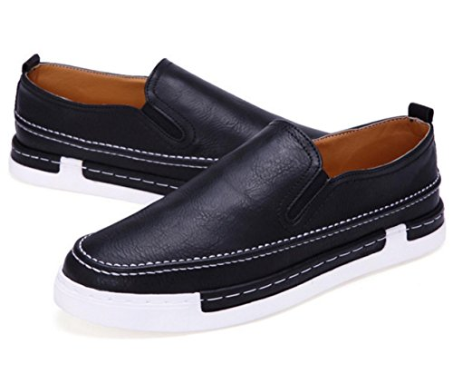WZG Calzado hombre zapatos casuales de la moda británica un pedal zapatos planos perezosos Black