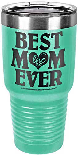 "GIFT FOR MOM – ""BEST MOM EVER - LOVE YOU"" GK Grand Engraved Stainless Steel Vacuum Insulated Tumbler Travel Coffee Mug Hot & Cold Drink Wine Mothers Day Birthday Christmas (Pastel Teal, 30oz)"