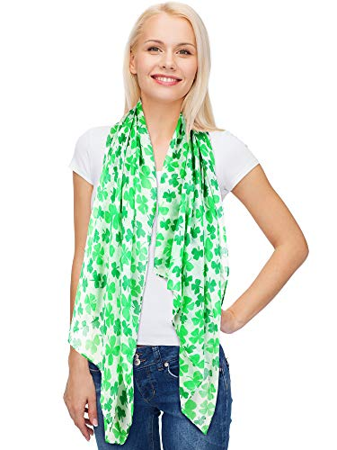 Skylety St. Patrick's Day Printed Scarf Long Shamrock Shawl Irish Theme Scarf for Holiday Outfits Accessories (Color 3, 1 Piece, 1)