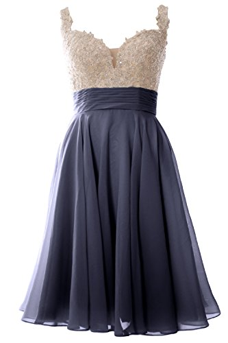 Straps Lace MACloth Dress Formal Party Gown Short Steel Women Prom Chiffon Wedding Blue qw1X5C1r