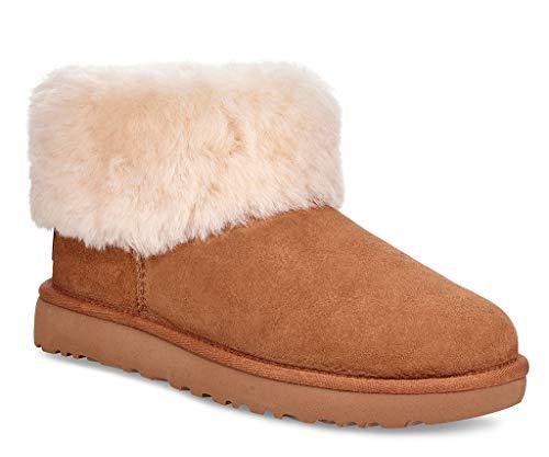 UGG Women's Classic Mini Fluff Ankle Boot, Chestnut, 10 M US