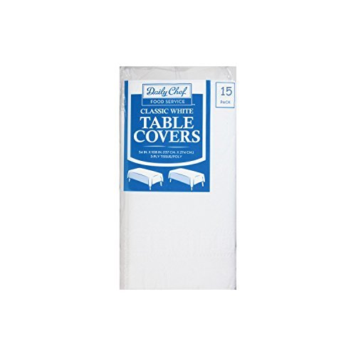 Daily Chef, 3-Ply Tissue Paper Table Covers, White, Pack of 15 by Daily Chef