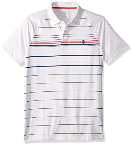 IZOD Men's Golf Fashion Short Sleeve Polo Shirt, Bright White Large