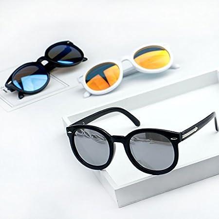 Sunyan Kinder Sonnenbrille baby Bunte film Sonnenbrille box jungen Mädchen runde UV sun Spiegel Familie, Schwarz Gestell schwarz Gradient