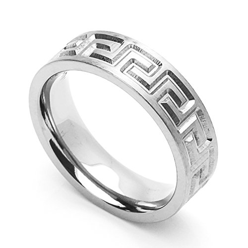 Double Accent 6MM Comfort Fit Stainless Steel Wedding Band Greek Key Ring (Size 6 to 14) Size 10