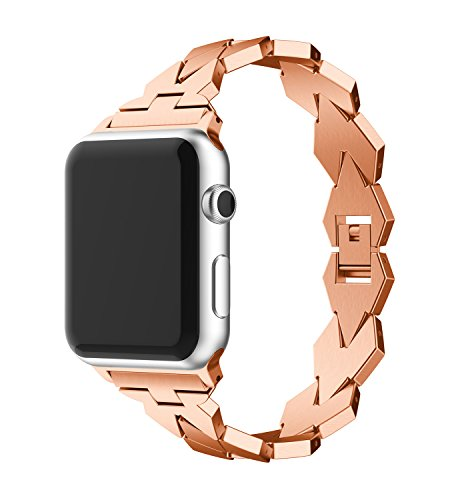 For Apple Watch Band 38mm, Rhombus Design Zinc Alloy Metal iWatch Replacement Strap for Apple Watch Series 3, Series 2, Series 1, Sport and Edition (5.11''-7.87'') by YKHENGTU