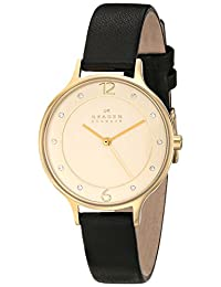 Skagen Women's SKW2266 Anita Gold-Tone Stainless Steel Watch with Black Leather Strap