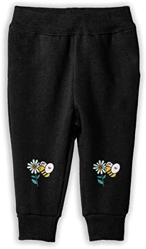 青い小花と可愛い蜜蜂 ロングパンツ スウェットパンツ ユニセックス 子供 日常 旅行 カジュアル 吸汗 伸縮性 通気 耐久性 春秋 肌触りよく 柔らかい 下着 卒業式