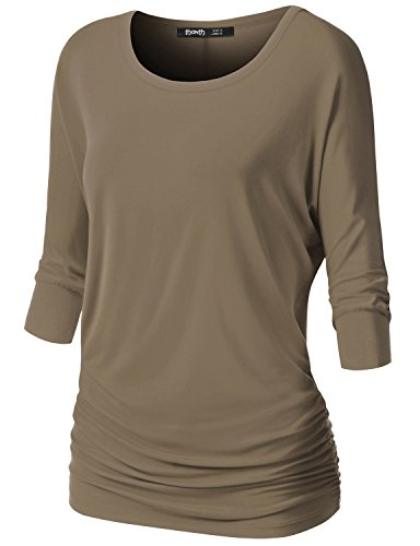 TWINTH Womens Dolman Sleeves Drape Tops Solid Side Shirring Jersey Tee Khaki X-Large