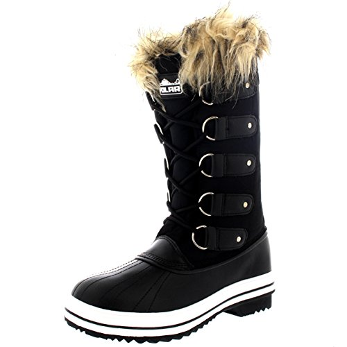 (Womens Lace Up Rubber Sole Tall Winter Snow Rain Shoe Boots - 6 - BLN37 YC0055)