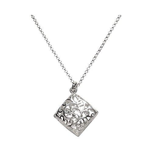 (Takobia Women's Scratched Silver Plated Filigree Domed Square Pendant - 15-18