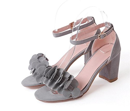 sandalias Confort 7cm Palabra 42 Con 34 Mujer Sandalias 36 35 Hebilla Grey Xie Decoración Única terciopelo Grey De antideslizante Flores tFqz4wffR