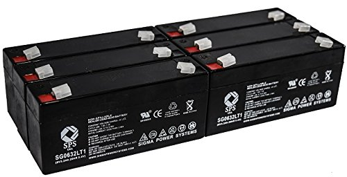 (SPS Brand 6V 3.2Ah (Termina LT1) Replacement Battery fof Rigel 304 MULTICARE Monitor (6 Pack))