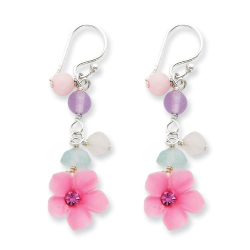 Sterling Silver Amethyst/Agate/Blue Topaz, Rose and Cherry Quartz Flower Earrings