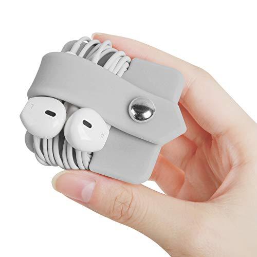 ELFRhino Silicone Earphone Organizer Earphone Wrap Winder Headphone Cord Organizer Wrap Winder Manager/Cable Winder(Light Grey, 1 Piece)