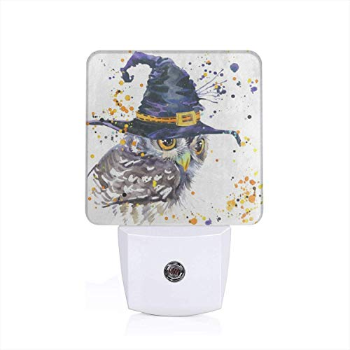 Night Light Watercolor Halloween Hipster Owl and Witch