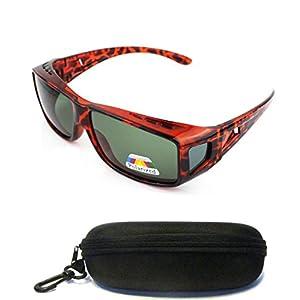(#CH150 Tort) Polarized Lenses Fit Over Wear Over Sunglasses for Men Women Unisex Prescription Glasses UV400 For Nearsighted Short Sighted Myopia