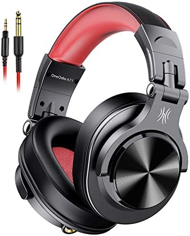 OneOdio A71 Wired Over Ear Headphones, Studio Headphones with SharePort, Professional Monitor Recording & Mixing Foldable Headphones with Stereo Sound for Electric Drum Keyboard Guitar Amp (Red)