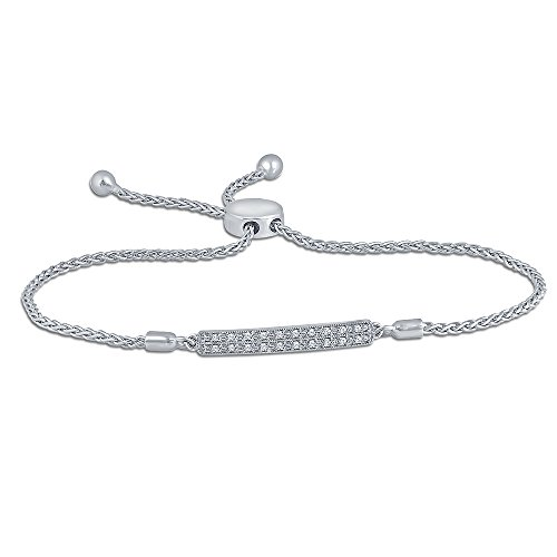 1/10ct Round White Diamond Sterling Silver Adjustable Accent Love Bar Strand Bolo Bracelet for Women Teens