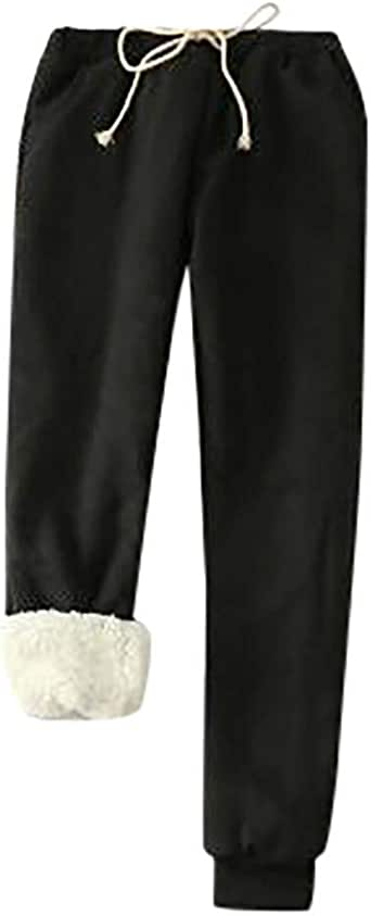 Toimothcn Women's Home Lounge Pants Winter Warm Sherpa Lined Athletic Sweatpants Jogger Fleece Trousers(Black,M)