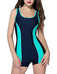 Women's One Piece Swimsuits Boyleg Sports Swimwear