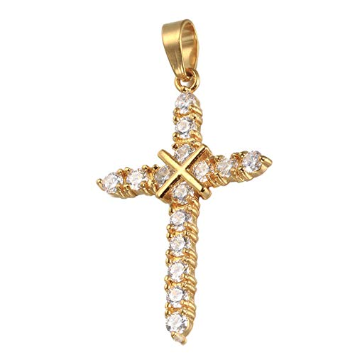 HIJONES Women's Stainless Steel Golden Criss Cross Cubic Zirconia CZ Necklace Pendant 22 Inch Chain (Christian Small Necklace Cross Nail)