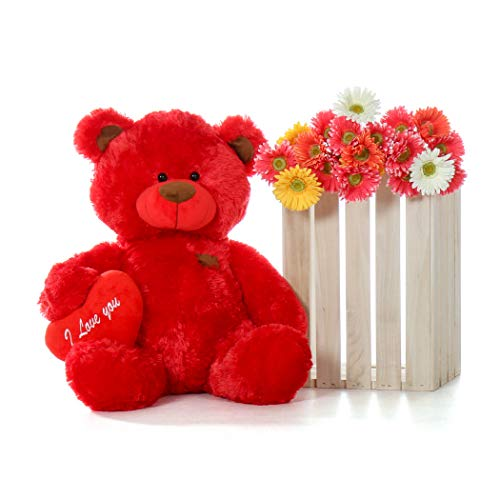 (Giant Teddy Original Brand - Biggest Collection of Super Soft Stuffed Teddy Bears (Pillow Heart Included) (Ruby Red, Big))