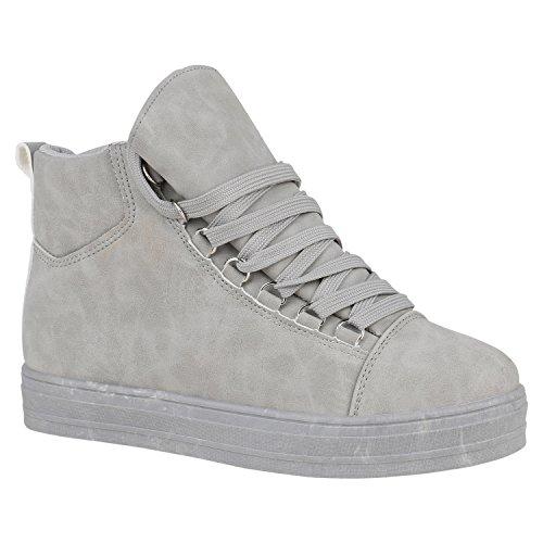 1e80faff9d6cc3 Stiefelparadies Damen Sneaker High Schuhe Leder-Optik Sneakers Zipper  Ketten Schnürschuhe Flats Schnallen Flandell Grau