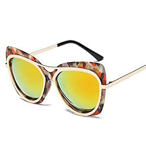 XENO-Womens Retro Vintage Cat Eye Mirrored Shades Sunglasses Glasses Eyewear Fashion(flower frame orange lens)
