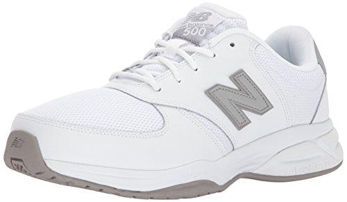 Leather Mesh White Grey - New Balance Men's 500V1 Leather/Mesh Training Shoe, White/Grey, 14 4E US