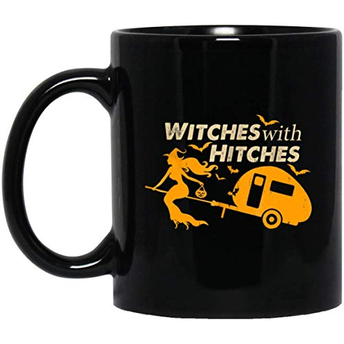 Witches With Hitches Halloween Camping Party Gift 11 oz. Black Mug