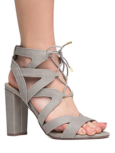 J. Adams Lace Up Cutout Open Toe High Heel Sandal - Dress Wedding Shoe - Sexy Comfortable Pump - Divine by