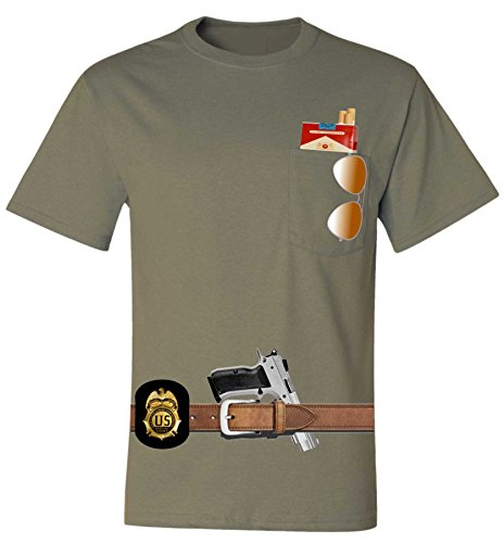 Allntrends Adult Pocket T Shirt Javier Pena Costume Best Halloween Ideas (2XL, Khaki)