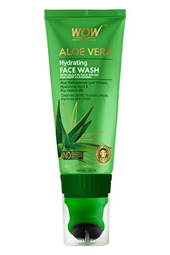 WOW Skin Science Aloe Vera with Hyaluronic Acid and Pro Vitamin B5 Hydrating Gentle Face Wash Gel with Built-In Face…