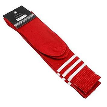 1 Pair of Knee High Tube Socks Athletic Soccer Sports---Black Stripe on White L-FENG-UK