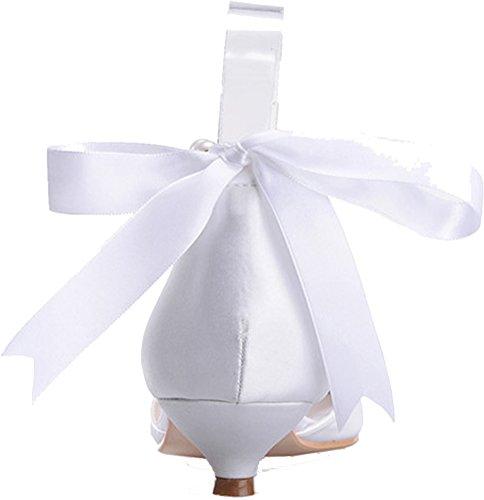 Wedding Sandals Fashion Comfort Pearl Kitten Bride White Toe Party Strap Peep Ladies Ankle Salabobo 11 Prom Satin 0700 Heel Dress Bridesmaid Work Smart 0W1q7