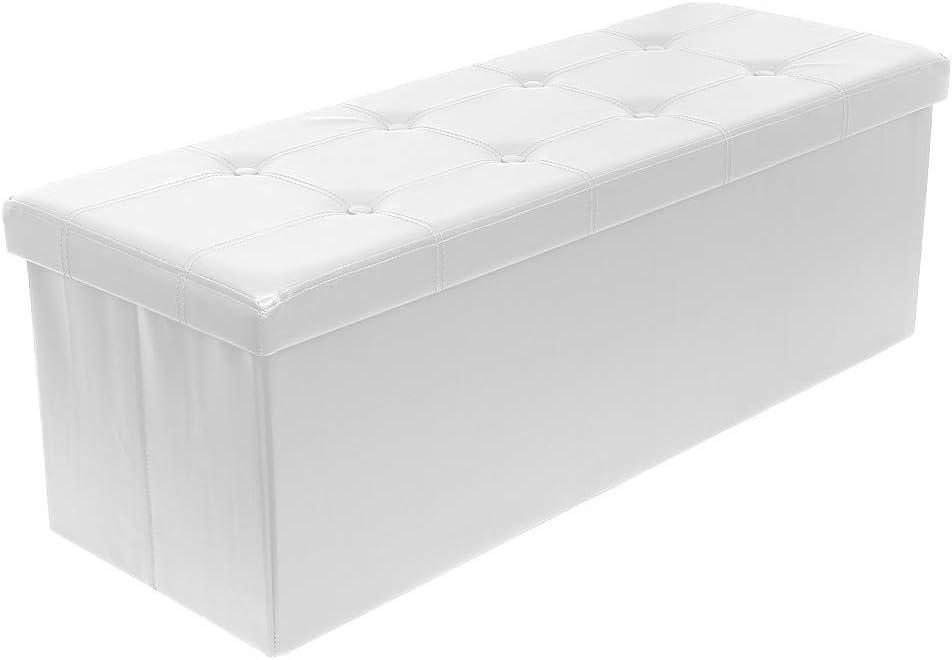 Meerveil Pouf Coffre de Rangement Pliable Tabouret Pliant Banc Pouf de Rangement Cube de Repose-Pieds Tabouret de Café Banc d'Éponge (Blanc, 110_x_38_x_38_cm)