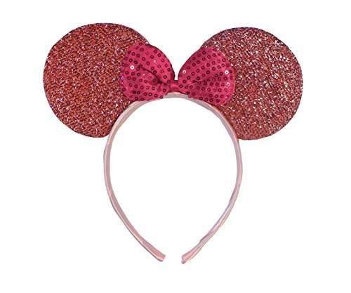 Pink Minnie Ears (Light Pink Sparkly Minnie Mouse Ears Fancy Dress Headband)