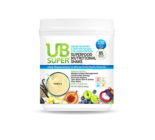UB Super Protein Superfood Nutritional Shake - Probiotic Dietary Supplement - Grass Fed Whey/Collagen (Vanilla)