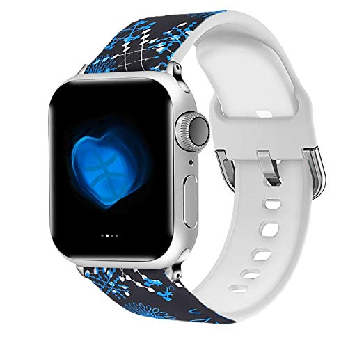 Uhada Compatible Apple Watch Series 4/3/2/1 Band 38mm 40mm 42mm 44mm, Choose Color-Soft Silicone Fashion Classic Slim Sports Replacement for iWatch Bands (Flower-11, 42mm/44mm) ()
