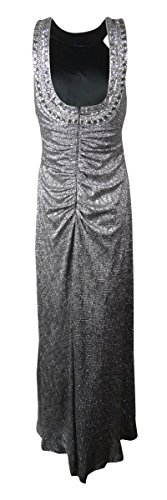Xscape Women's Beaded Metallic Full Length Dress (4, Black/Silver) by Xscape (Image #2)