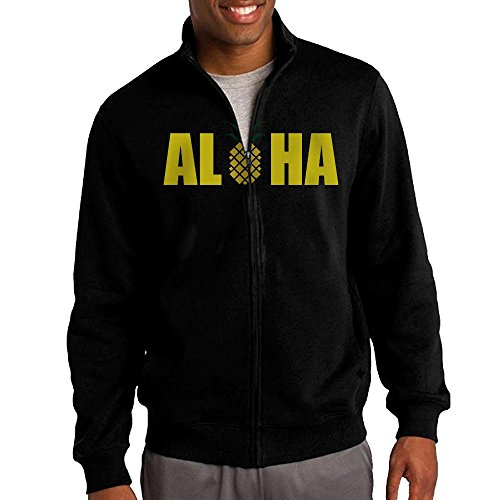 [Men's Aloha Pineapple Solid Stand Collar Zipper Jacket Size M] (Wall-e Costume Make Your Own)