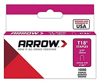 "Arrow Fastener 186 38"" T18 Staples 1,000 Count 0"