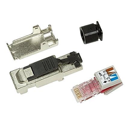 odedo/® 2X Cat.6A RJ45 Crimp Stecker feldkonfektionierbar Cat 7 10 Gigabit werkzeugfreier Netzwerkstecker mit Zugentlastung 2X