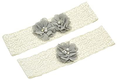Wishprom Ivory Lace Wedding Garter Gray Chiffon Flower Vintage Toss Garter