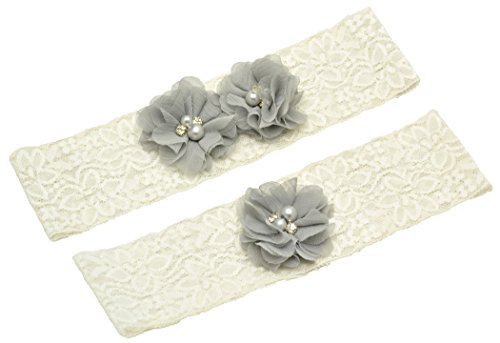 Wishprom Ivory Lace Wedding Garter Gray Chiffon Flower Vintage Toss Garter (L / 21-22 Inches) (Garter Wedding Vintage Inspired)